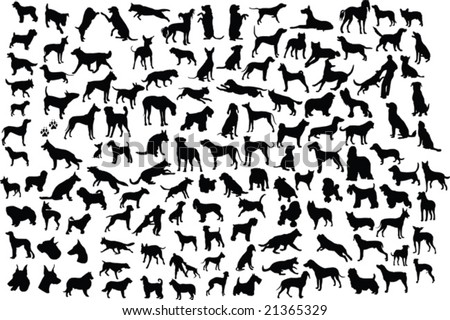 131 silhouettes of different breeds of dogs in action and static