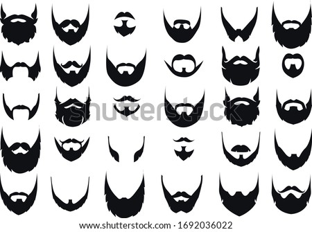 Silhouettes of different types of beards ストックフォト ©