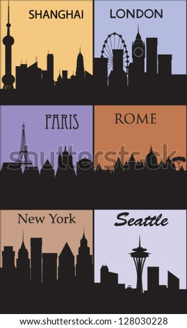 Silhouettes of famous cities. Vector