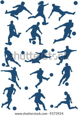 15 Silhouettes of Soccer (football) player.