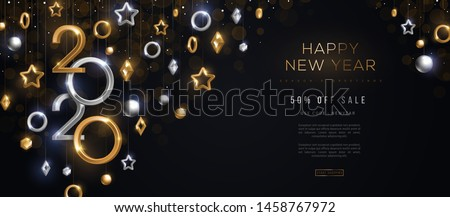 2020 silver and gold numbers with crystal baubles hanging on black background. Vector illustration. Minimal invitation design for Christmas and New Year. Winter holiday decorations