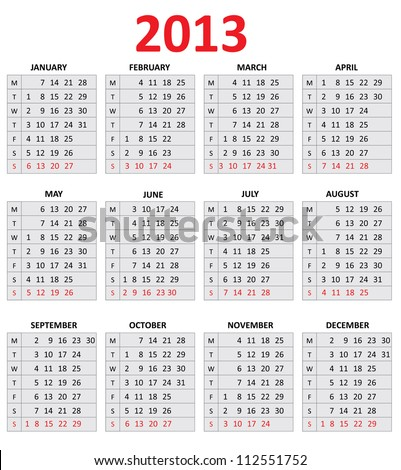 2013 Simple Calendar. Monday first day of the week