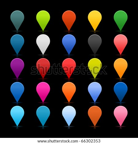 25 simple mapping pins icon web 2.0 buttons. Colorful satin rounded shapes with reflection on black