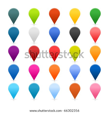 25 simple mapping pins icon web 2.0 buttons. Colorful satin rounded shapes with shadow on white