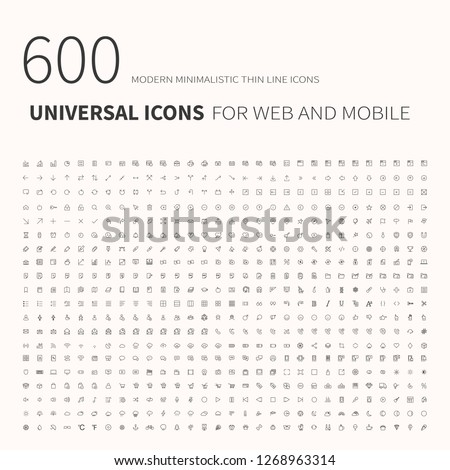 600 simple outline flat icons. Set of universal icons for website and mobile. Flat vector illustration #1268963314