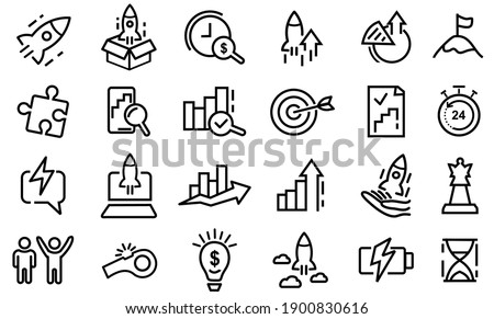 24 Simple set of Startup line icons. Launch Project, Business report and Target. Strategy linear icon. Contains such Icons as Goal, Out of the Box Idea, Launch Project. Editable Stroke Vector
