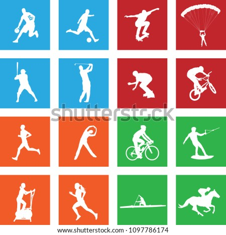 16 simple sport icons - vector