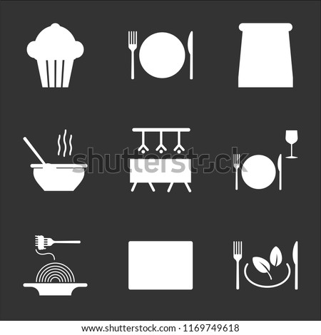 9 simple transparent vector icon pack, set of black icons such as Vegetarian food, Browser, Pasta, Dinner, Bar, Soup, Take away, Dish, Cupcake