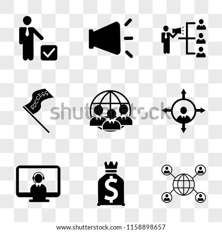 9 simple transparent vector icon pack, set of icons such as Connected persons around the Earth, Dollars money bag, Operator with headset on monitor screen, People orientation, communication