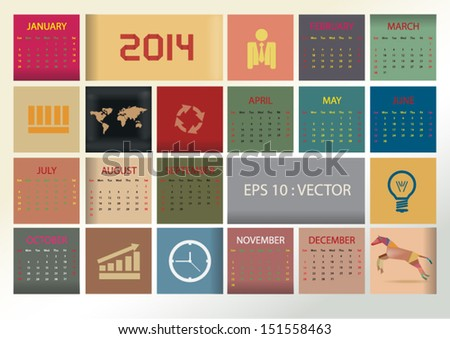 2014 simple vector calendar with colorful square box and business icon. vector eps10