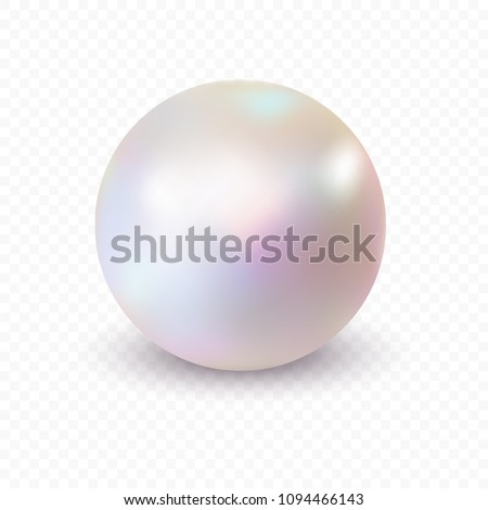 Single pearl isolated on transparent background. Spherical beautiful 3D orb with transparent glares and highlights.  Vector Illustration.