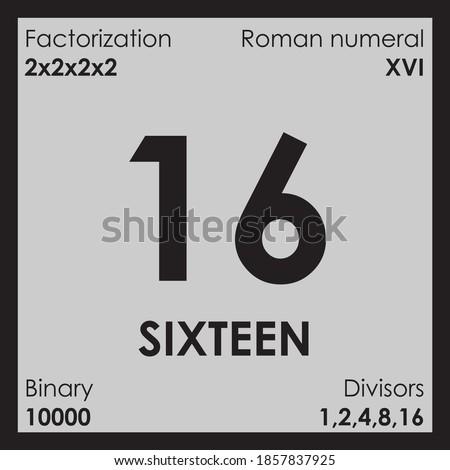 16 sixteen number Digit details unit Foto stock ©
