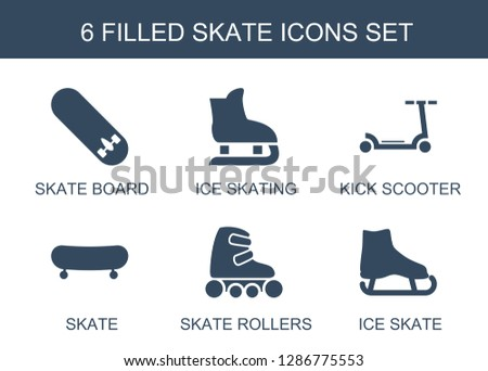 6 skate icons. Trendy skate icons white background. Included filled icons such as skate board, ice skating, kick scooter, rollers, ice skate. icon for web and mobile.