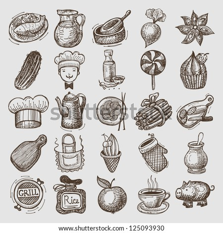 25 sketch doodle icons food
