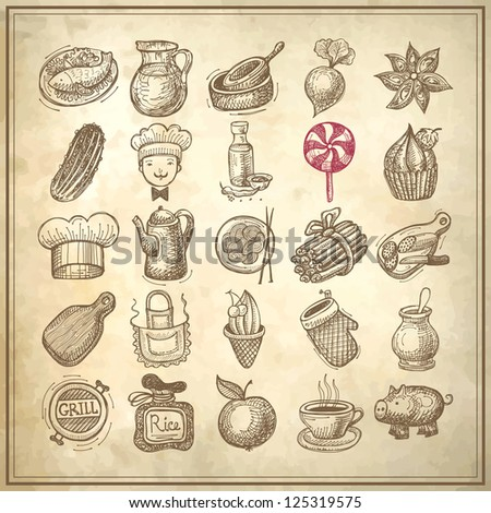 25 sketch doodle icons food on grunge paper background