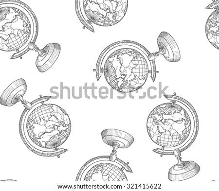 sketch globe isolated on white ...