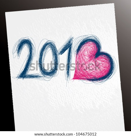 2013 sketch happy new year card with number three like heart