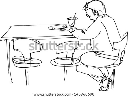 sketch of being fellow at a table on a chair in a cafe