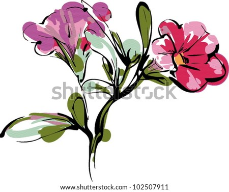sketch of branch with two pink buds and foliage