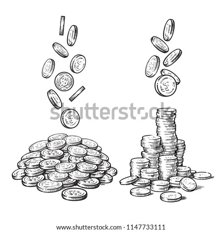 Sketch of falling coins in different positions, pile of cash, stack of money. Black and white finance, money set. Hand drawn collection isolated on white background. Vector illustration.
