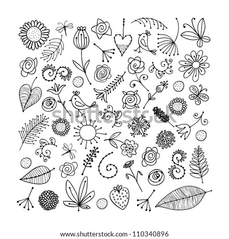 sketch of floral elements for