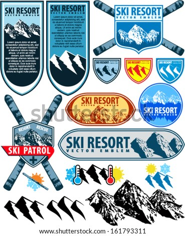 Ski Resort labels and mountains emblems collection