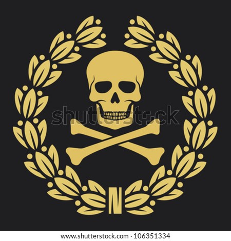 skull, bones and laurel wreath symbol (pirate symbol, skull and cross bones, skull with crossed bones, skull and bones symbol, pirates symbol)