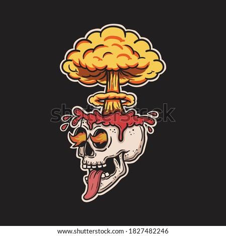 skull brain exploding and