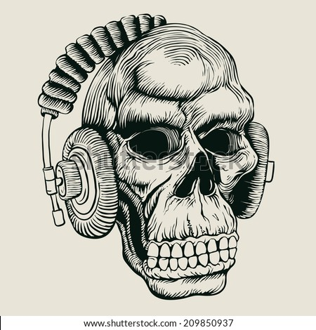 skull in headphones. drawing style. vector illustration