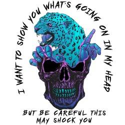 skull jaguar hands art print for clothes design vector skeleton horror gothic hipster summer face poster head