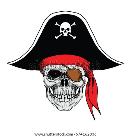 skull pirate with hat and red