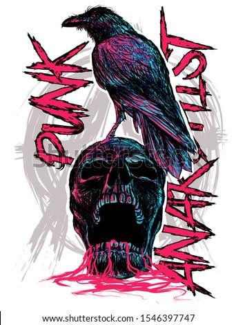 skull punk with raven art