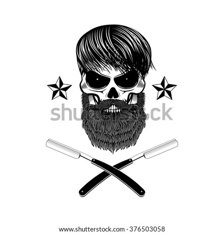 skull with beard and two