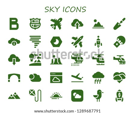 sky icon set. 30 filled sky icons. Simple modern icons about  - Bold, Barcelona, Plane, Cloud, Mountain, Scraper, Tornado, Night, Rocket, Parachute, Sky, Canyon, Helicopter, Stari most