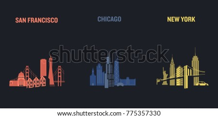 skyline illustration of three