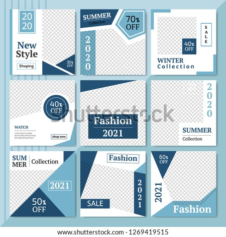 9 Slides Summer Sale & Fashion Collection modern Social Media banner Template. Anyone can use This Easily. Promotional square web banner for social media. Elegant sale and discount promo. - Vector. #1269419515
