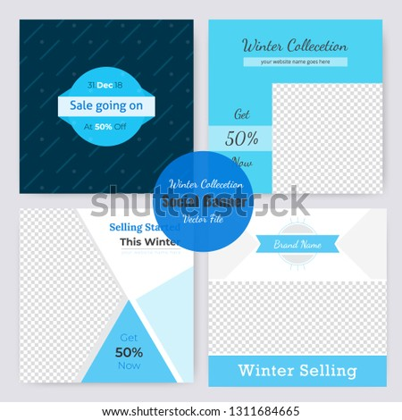 04 Slides Unique Editable modern Social Media banner Template.Anyone can use This Design Easily.Promotional square web banner for social media. Elegant sale and discount promo - Vector. #1311684665