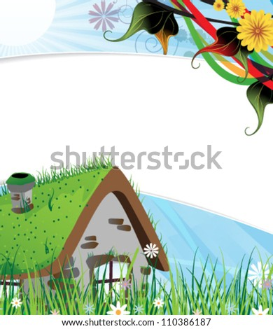 Small brick house on a green spring meadow