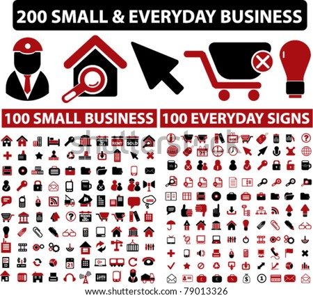 200 small & everyday business icons, signs, vector