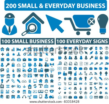 200 small everyday & business icons, signs, vector illustrations - stock vector