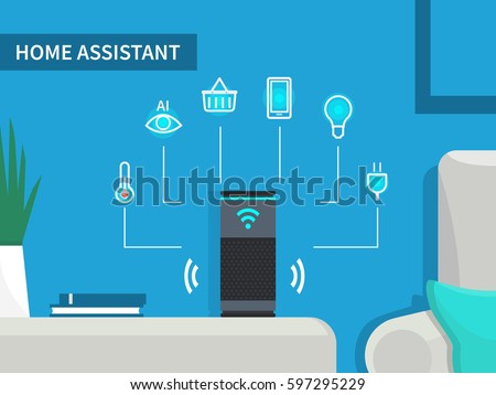 Smart home assistant concept. Automation system for house. Vector illustration.