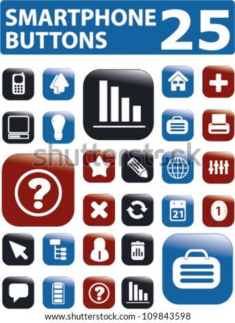 25 smartphone apps glossy buttons