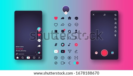 Smartphone screen layouts and web icons set on colorful background. Blogging. Stream. Music and video template web application. Social media Tik Tok concept. Vector illustration. EPS 10