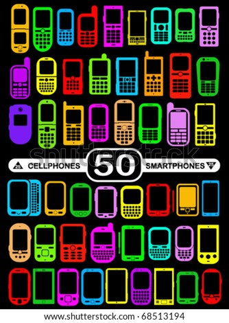 50 Smartphones and Cellphones in vivid colours