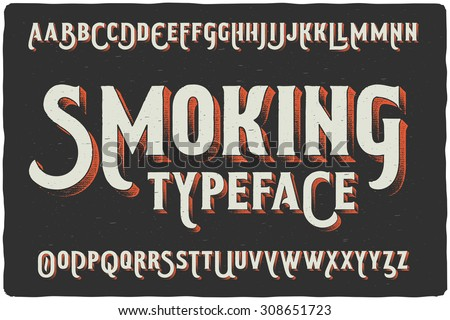 Smoking vintage gothic old style typeface on dark background