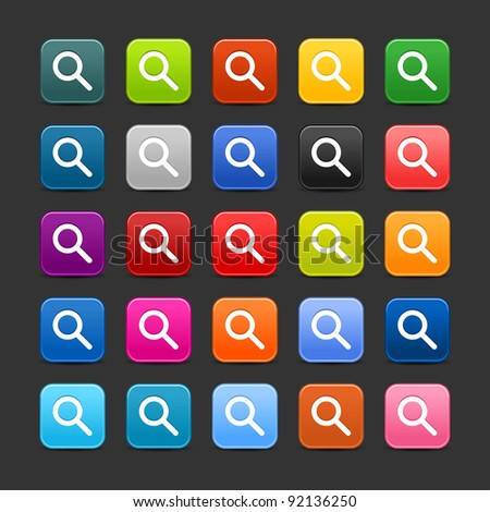 25 smooth satined web 2.0 button with magnifying glass sign. Colored rounded square shapes with black shadow on gray background. This vector illustration saved in 8 eps