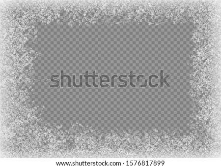 Snow frame. Frozen window. Window frozen glass ice. Vector illustration. Eps 10.