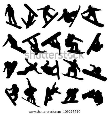 20 snowboarders outlines on a