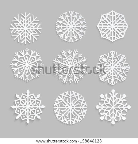 snowflakes set background for