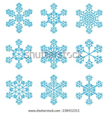 9 Snowflakes Vectors